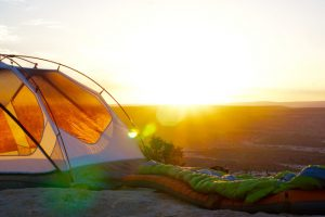 tent at sunset with lens flare