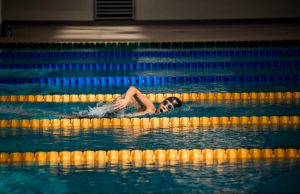 swimmer doing laps in a pool